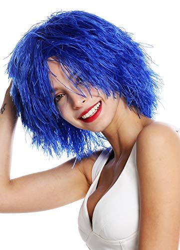 WIG ME UP - MMSLW-K2079 Perücke Damen Herren Karneval struppig strohig voluminös Kobold Clown Blau