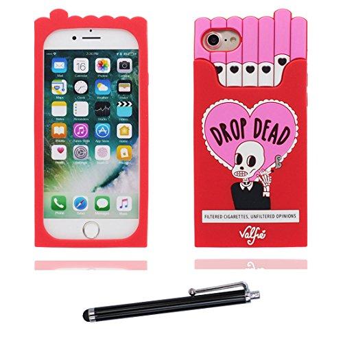 "Hülle iPhone 7 Cover Karikatur-Tierentwurf -3D Cigarette Holder Schädel TPU Form Gummi Gel Neues, iPhone 7 Handyhülle 4.7"", iPhone 7 case Schock-Poofund Touchstift rot"