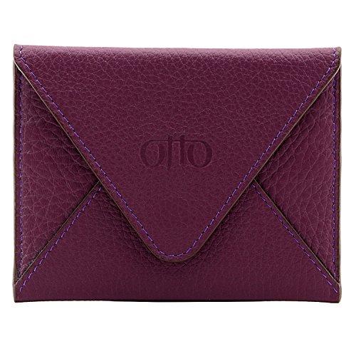 OTTO Echtes Leder Kreditkartenhalter und Reisebrieftasche Hülle mit Magnetischem Verschluss - Kreditkartenhalter mit mehreren Schlitzen für Geld, Ausweis, Tickets - RFID Schutz (Lila) Card Holder Wallet Lv