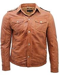 Chaqueta de cuero de la camisa de los pantalones vaqueros del vintage de broncear de los