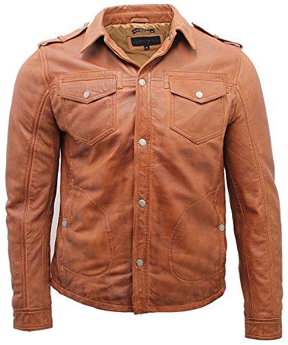Herren Bräunen Jahrgang Jeans Leder Hemd Jacke L (Echt Leder Jacke Braune)