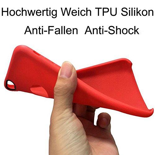 iPhone 6/6S Plus Weich TPU Silikon Hülle + Gehärtetes Displayschutzfolie,SUNAVY Neu 360-Grad Anti-stoß Anti-Kratzer Anti-überhitzen Handyhülle Schutzhülle für Apple6/6S Plus,5.5 zoll,Rot Rot