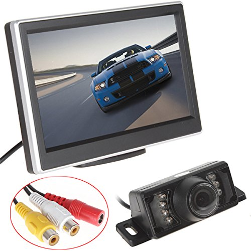 5pulgadas TFT-LCD HD PANEL color coche monitor de visión trasera + 7IR...
