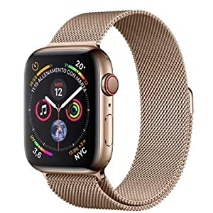 Apple Watch Series 4 (GPS + Cellular) con caja de 44 mm de acero inoxidable en oro y pulsera Milanese Loop en el mismo tono