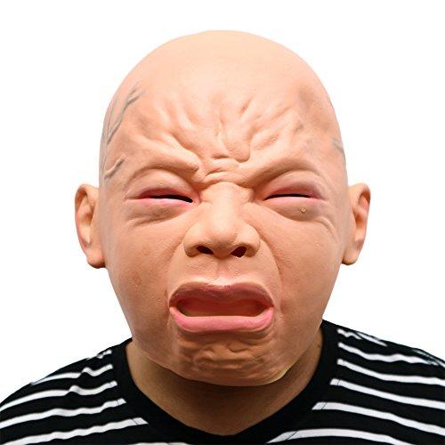 Morbuy Terror Máscara de Halloween, Adulto Látex Novedad Horror Espeluznante Cabeza Máscaras Cara Fiesta de Disfraces Cosplay (Llorar)