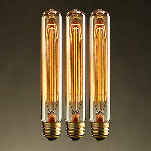 KJLARS 3 x Vintage Retro Edison Glühbirne Glühlampe E27 T185 40W birne Lampe tube Flötenrohr Industry Style Leuchtmittel (Uv-led-tube)