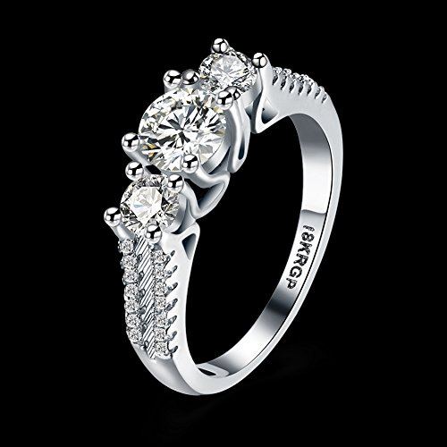 f37def4bb9 Eternity Love Women Wedding Engagement Rings 18K Gold Plated Cz Diamonds  Bands Solitaire Princess Cut Promise Anniversary Bridal Jewelry Infinity  Love for ...