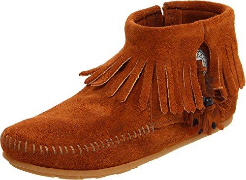 Minnetonka Concho/Feather Side Zip Boot 522 Damen Fashion Halbstiefel & Stiefeletten, Braun (Brown 2), 36