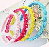 #5: Hair Band - Cute Lace pearl and Flower Baby Hairband / Girl's Hairband / Girls Hair Accessories / Baby Girls Hair Accessories - Blue Color