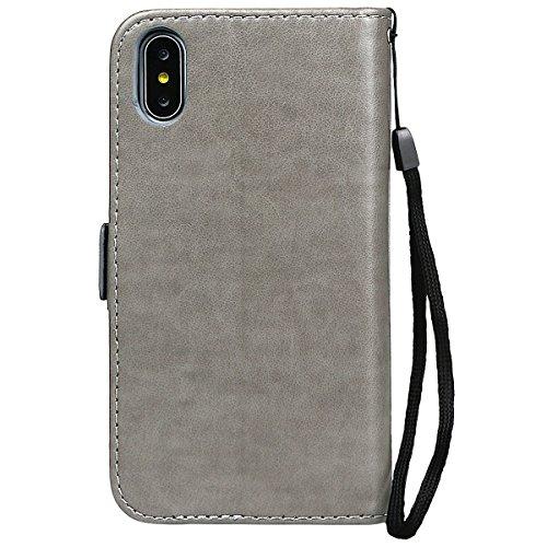 Hülle für iPhone X/10, xhorizon FM8 Brieftasche Schutzhülle, mit Mädchen bedrucktes PU-Leder, umklappbare Brieftasche mit Standfunktion und magnetischem Verschlussdeckel für iPhone X / iPhone 10(2017) Grau