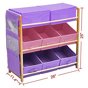 Childrens Kids 3 Tier Toy Bedroom Storage Shelf Unit 8 Canvas Boxes Drawers