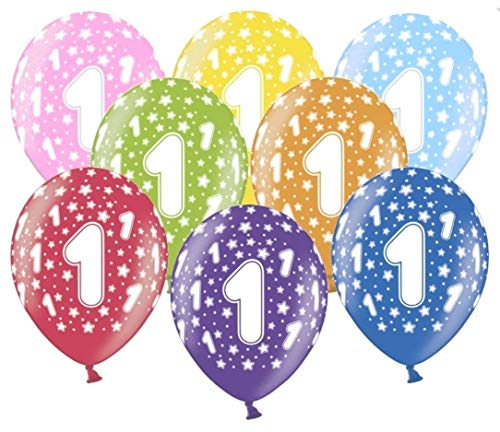 Libetui 10 kunterbunte Luftballons Metallic 30cm Deko zum 1. Geburtstag Party Kindergeburtstag Happy Birthday Dekoration erster Geburtstag