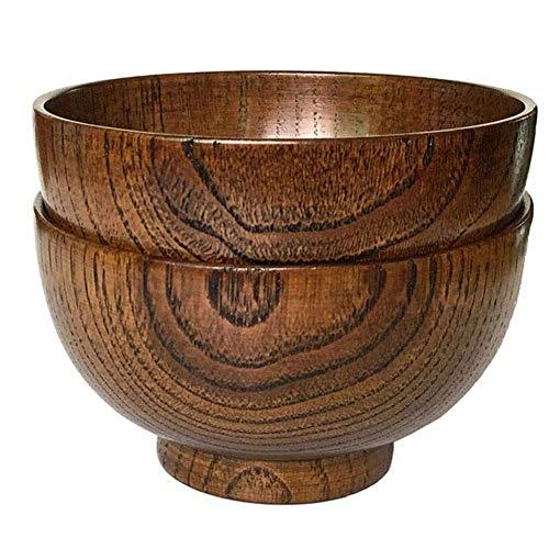 Xigeapg Satz Von 2 Massivholz Schale, 4,5 Zoll Durchmesser Von 2-5/8 Zoll, Für Reis, Suppe, Dip, Dekoration (Mitte) - Ab 2.625