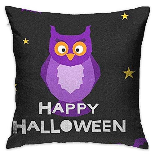 FPDecor Dekorativ Kissenbezug, Throw Pillow Cover Vintage Happy Halloween Moon Owl Decorative Pillow Case Decor Square 18x18 Inch Cushion Pillowcase (Paw Halloween Patrol-happy)