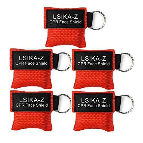 5 Stück CPR Maske Schlüsselanhänger Ring Notfall Kit Rescue Face Schilde mit Rückschlagventil Atmen Barriere für Erste Hilfe oder AED Training, leicht zu transportieren - Cpr-maske