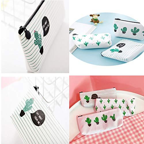 WeiMay Set di 3 astucci porta penne/cosmetici, motivo cactus - 3
