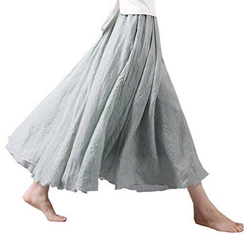 Evedaily Damen Rock Lang Maxirock Double Layer Rock Baumwolle elastische Taillenbund Hellgrün 85cm/M (Rock Langer Leinen)