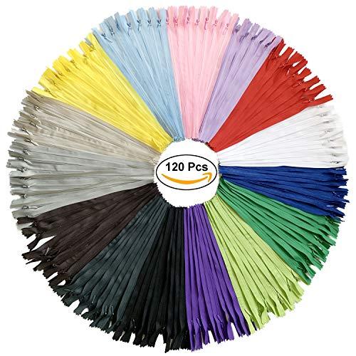 Doitem 120 pz 20 cm / 8 pollici invisibile multicolore bobina di nylon cerniere per cucito e artigianato 15 colori