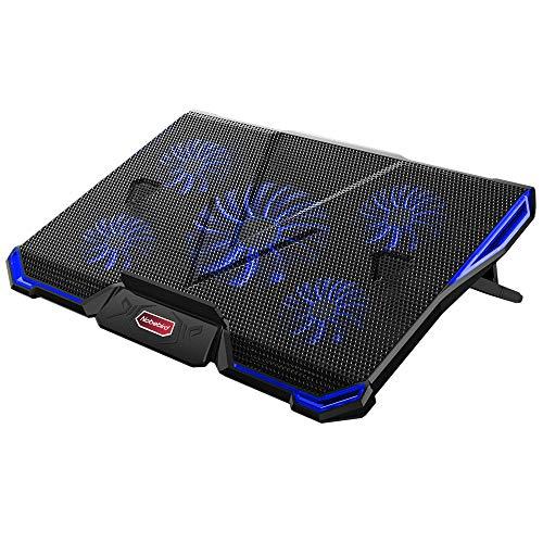 Laptop Kühler für 12-17,3 Zoll, Ultra Leise Notebook Kühler mit 5 Ruhige Lüfter und Blau LEDs, 7 Höheverstellbar,2 USB-Anschlüssen,Vverstellbare Windgeschwindkeit Laptop Cooling Pad für Gamer Gaming