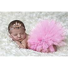TININNA Estilo Lindo de Foto Suave Infantil Niñas Bebés Trajes Apoyo de la Fotografía Costume Outfits, Falda y Flor Diadema la Ropa del Bebé-Corona rosada
