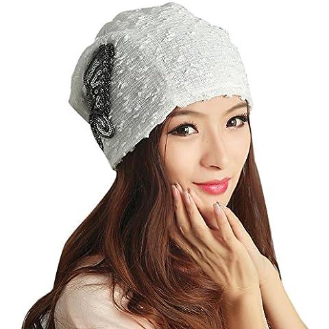 Malloom Sombrero de invierno de mujer encaje mariposa gorro señora Skullies turbante gorras (blanco)