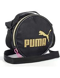 1895498673 Puma Borsa a spalla da donna, custodia rotonda con anima, logo CAT oro,