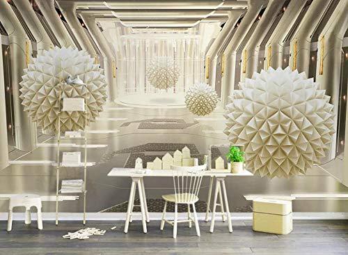 Fototapeten Wandbild 3D Wallpaper Moderner Minimalismus Der Goldenen Abstrakten Architektur Des Runden Balls Wandbilder Schlafzimmer Wohnzimmer Tapete 3D Hintergrundbild Hotel Home Decor 430cm×300cm