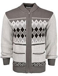 cb4b10199fb716 Mens Classic Style Cardigan Argyle Diamond Pattern Casual Design Zip Up  Thick Knit Warm Winter Grandad Sweater…