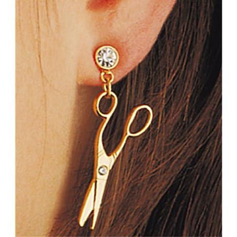 Fripac-Medis - Coppia di orecchini placcati in oro, con strass, motivo: forbici - Oro Forbici