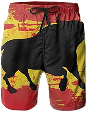 Funny Caps Spanish Bull Men's/Boys Casual Quick-Drying Bath Suits Elastic Waist Beach Pants with Pockets