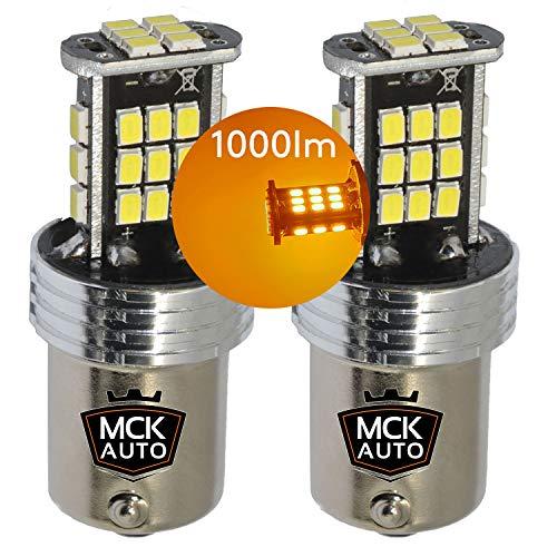 MCK Auto - Sostituzione per PY21W BAU15S 581 LED CanBus Set di lampadine arancioni molto chiare e senza errori compatibili con A1 A3 8P1