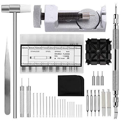 Uhrenarmband Reparatur Set, Uhrenarmband Werkzeug Kit/Federstegwerkzeug/Kopfhammer/Uhrenstifte/Splinte/Bandhalter/Pinzette/Wischtuch, 109PCS Uhrband Uhrwerkzeug Uhrmacherwerkzeug Reparatur Set