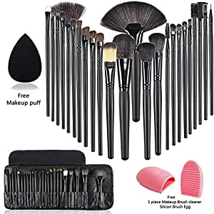 Start Makers Makeup Set with Wood Brush Organizer Beauty Bleander, Sponge and Cleaner - 24 Pieces
