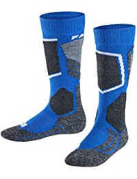 FALKE calcetín de esquí Infantil SK 2 Kids, otoño/Invierno, Infantil, Color Azul - Azul y Gris, tamaño 31-34