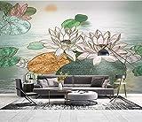 Papel Pintado Art Foto Mural Flor De Loto Chino Papel Tapiz Fotográfico Personalizado 3D Murales Grandes Sofá Dormitorio Moderno Pintura Mural Decoración Para El Hogar - 430x300CM(LxH)-XXXL