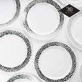 20 Premium Platos Desechables de Plástico Duro con Elegante