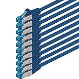 1aTTack Câble patch réseau SSTP Cat 6 A 2 x RJ45 PIMF blindé avec protocole de mesure Bleu 0,50 m 500 MHz 1,5 m  - blau - 10 Stück