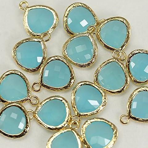 4pezzi di oceano blu sfaccettato briolette perline Connettori Bazel vetro con ciondoli perline su ottone placcato oro 16K, connettori per orecchini risultati, collana, gioielli forniture–Annielov fg-16