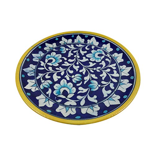 India Meets India Thanksgiving Handicraft Ceramic Wall Plate 8' Home Office Decoration with Beautiful Flower Design, Best Gifting, Made By Awarded Indian Artis