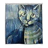 jstel Decor cortina de ducha pintura azul gatito patrón impresión 100% poliéster 66x 72pulgadas para hogar baño decorativo ducha baño cortinas con ganchos de plástico