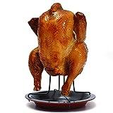 Aogolouk - Parrilla para asar pollo con bandeja, antiadherente