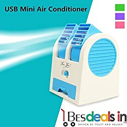Best Deals - Mini Small Fan Cooling Portable Desktop Dual Bladeless Air Conditioner USB (Assorted Color)