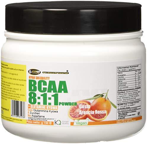 Aminoacidi BCAA polvere 811 Aminoacidi ramificati potenziati con Glutaina Kyowa 150 GR GUSTO Arancia Rossa