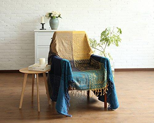 Sofa deckt 220cm x 260cm Folk-Custom Chenille Jacquard Quasten Überwurf Decke Sofa Stuhl Cover Tribal Muster für Camping (218,4x 259,1cm), 86 * 102 inch