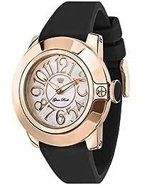 Glam Rock Reloj Sobe 44mm Negro Banda De Silicona Caso Swiss Chapado en oro rosa cuarzo fregona esfera para mujer gr32052a