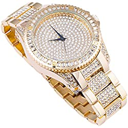 Techno Trend Men's Gold Plated Clear Stones Flat Lens w/ Cut Edges Click Rotate Bezel Hip Hop Watch