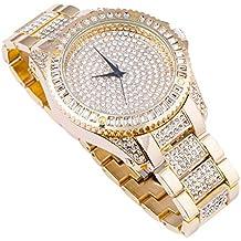 Techno Trend hombre chapado en oro claro piedras soporte de lente w/corte bordes haga clic rotación bisel Hip Hop Reloj