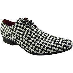 Rossellini Chessmaster Zapatos Derby para Hombre Blanco y Negro Ajedrez Derby Zapato (41)