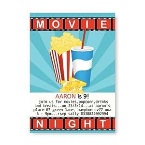 10personnaliser Invitations pour anniversaire d'enfant tout âge/Cinéma Movie Nuit Thème kb45–Sans Enveloppes & de livraison