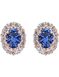 925plata de ley Oval corte Simulado Azul y blanco Sapphire Stud Pendientes para las mujeres y las niñas con chaqueta (plata de ley chapada en oro de 18quilates